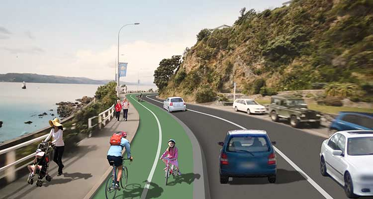 Artist impression: proposed Evans Bay 2-way bike path shared by cyclists, pedestrians and vehicles.